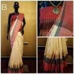 Khadi Cotton Silk Saree With Contrast Pallu (9 Pc Set)