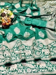 Soft Silk With Beautiful Silver Weaving Work Saree