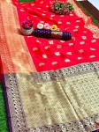 Beautiful Soft Banarasi Silk Embossed Weaving Saree