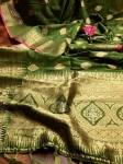 Pure Banarasi Soft Silk Gold Zari Border Saree (8 Pcs Set)
