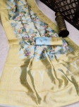 Soft Banarasi Silk Flower Digital Print Saree