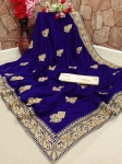 Vichitra Silk With Diamond Embroidery Work Saree (6 Pcs Set)