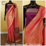 Khadi Cotton Silk Saree With Contrast Pallu Zari Weaving Border(8 pc Set)