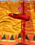 Raw Silk With Khadi Weaving Pallu Khadi Temple Fancy Saree