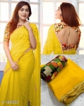 60gm Georgette with Beautiful foil Patti Saree  (12 Pc Set)