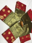 Banarasi silk saree with heavy pallu & butta zari (6 Pc Set)