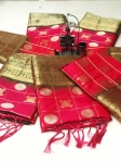 Soft Silk With Golden And Silver Zari Weaving Saree