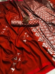Lichi Silk With Silver Weaving Work Saree (6 Pcs Set)