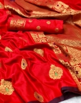 Banarasi Soft Weaving Handloom Silk Saree (6 Pcs Set)