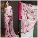 Imported Silk Satin Excellent Different Prints Saree