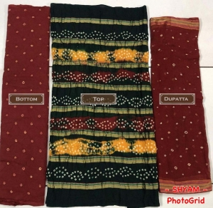 New Pure Cotton Bandhni Dress Material (10 Pcs Set)