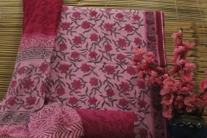 Pure Cotton Hand Block Printed Suits With Chiffon Dupatta (12 Pcs Set)
