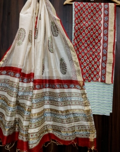 Hand block printed Maheshwari silk suits Wholesaler