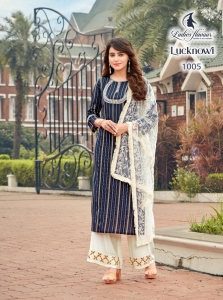 Ladies Flavour Lucknowi Rayon Readymade Collection (7 Pcs Set)