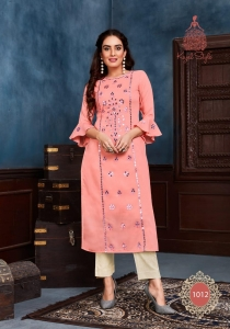 Kajal Style Fashion Saga Vol-1 Muslin Kurti with Pant (12 Pcs Set)