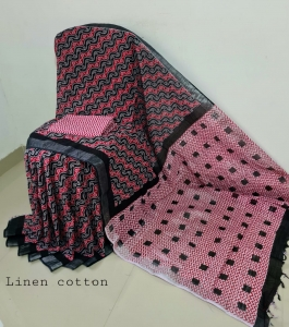 Exclusive handblock printed bhagalpuri linen cotton sarees
