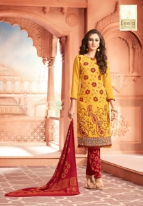 TZU Ruhi Rayon Cotton Embroidery Work Suit (6 Pcs Set)