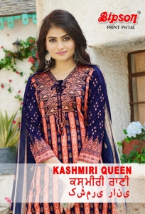 Bipson Kashmiri Queen Cotton Satin Digital Print Suit (4 Pcs Set)