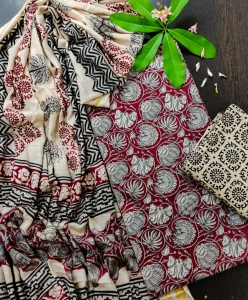 Super Soft Cotton Kalamkari Prints Dress Material (4 Pcs Set)