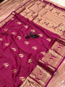 Pure Jacquard Gold Zari Work Saree Collection (8 Pcs Set)