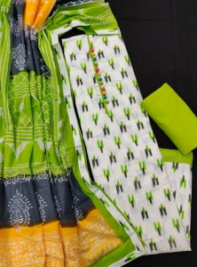 Soft Cotton Beautiful Ikkat Prints Dress Material (4 Pcs Set)
