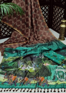 Linen Digital Print Kalamkari Print Pallu Saree (7 Pcs Set)