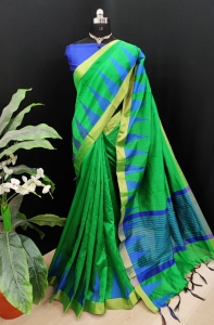 Baglori Raw Silk With Khadi Weaving Saree  (10 Pcs Set)