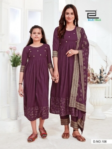 Blue Hills  Like Mom Like Daughter Heavy Rayon Gown (6 Pcs Set)