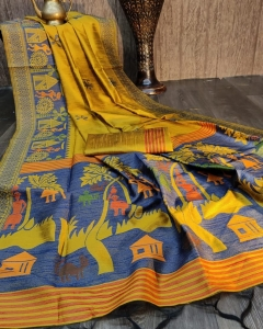 Handloom Raw Silk Weaving Fancy Saree (8 Pcs Set)