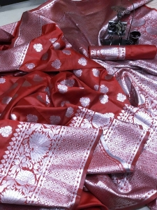 Soft Banarasi Silk With Weaving Silver Zari Saree (8 Pcs Set)