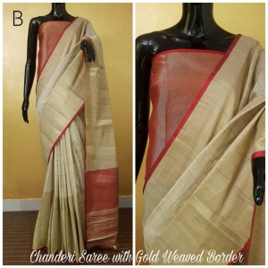 Chanderi saree with gold weaved border (8 Pc Set)