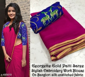 Semi Georgette Saree With Golden Foil Border (4 pc Set)