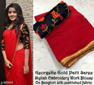Semi Georgette Saree With Golden Foil Border (10 pc Set)