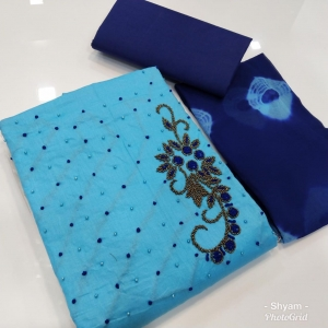 Cotton Satin With Khatli Work Dress Materials (6 Pc Set)