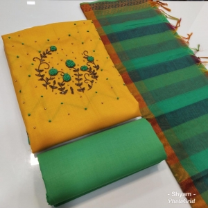 Cotton With Khatli Work Dress Materials (4 Pc Set)