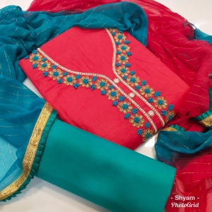 Heavy Cotton With Khatli Work Dress Materials (7 Pc Set)