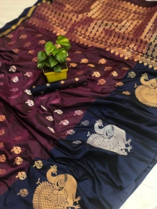 Soft Banarasi Kanchipuram Silk Saree With All Over Zari (4 pc Set)