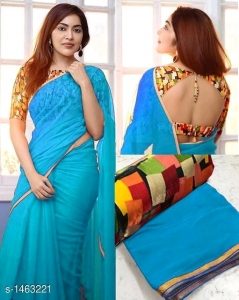 60gm Georgette with Beautiful foil Patti Saree