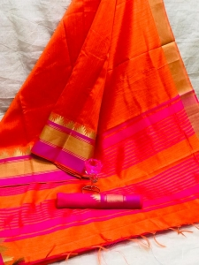 Raw Silk With Khadi Weaving Pallu Saree (13 Pcs Set)