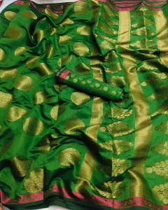 Exclusive Tanchoi Silk Saree With Blouse (5 Pcs Set)