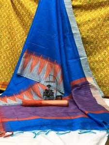 Raw Silk With Khadi Weaving Pallu Khadi Tempal Saree (10 Pcs Set)