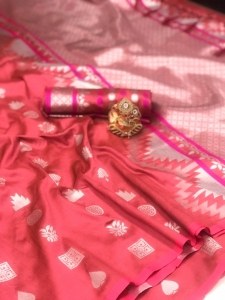 Soft Lichi Silk With Silver Weaving Work Saree (7 Pcs Set)