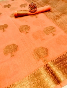 Soft Linen Cotton Weaving Silk Saree (5 Pcs Set)