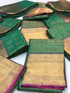 Soft Banarasi Kanchipuram Silk Saree With All Over Zari