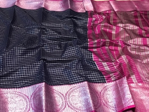 Cotton Silver Zari Woolen Saree Collection