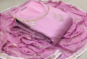 Chanderi Embroidery Work Designer Dress Material (4 Pcs Set)