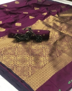 Banarasi Handloom Weaving Silk Zari Saree With Ordinary Design (6 pc Set)