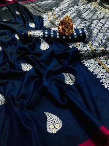 Lichi Silk With Silver Weaving Work Saree (8 Pcs Set)