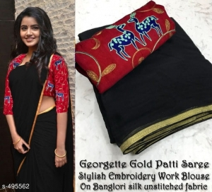 Semi Georgette Saree With Golden Foil Border (3 pc Set)