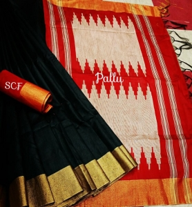 Raw silk Saree With jacquard Contrast Pallu